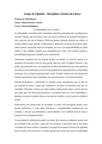 Artigo de Opinião Integração dos surdos