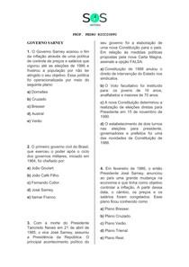 SOS História - Governo Sarney