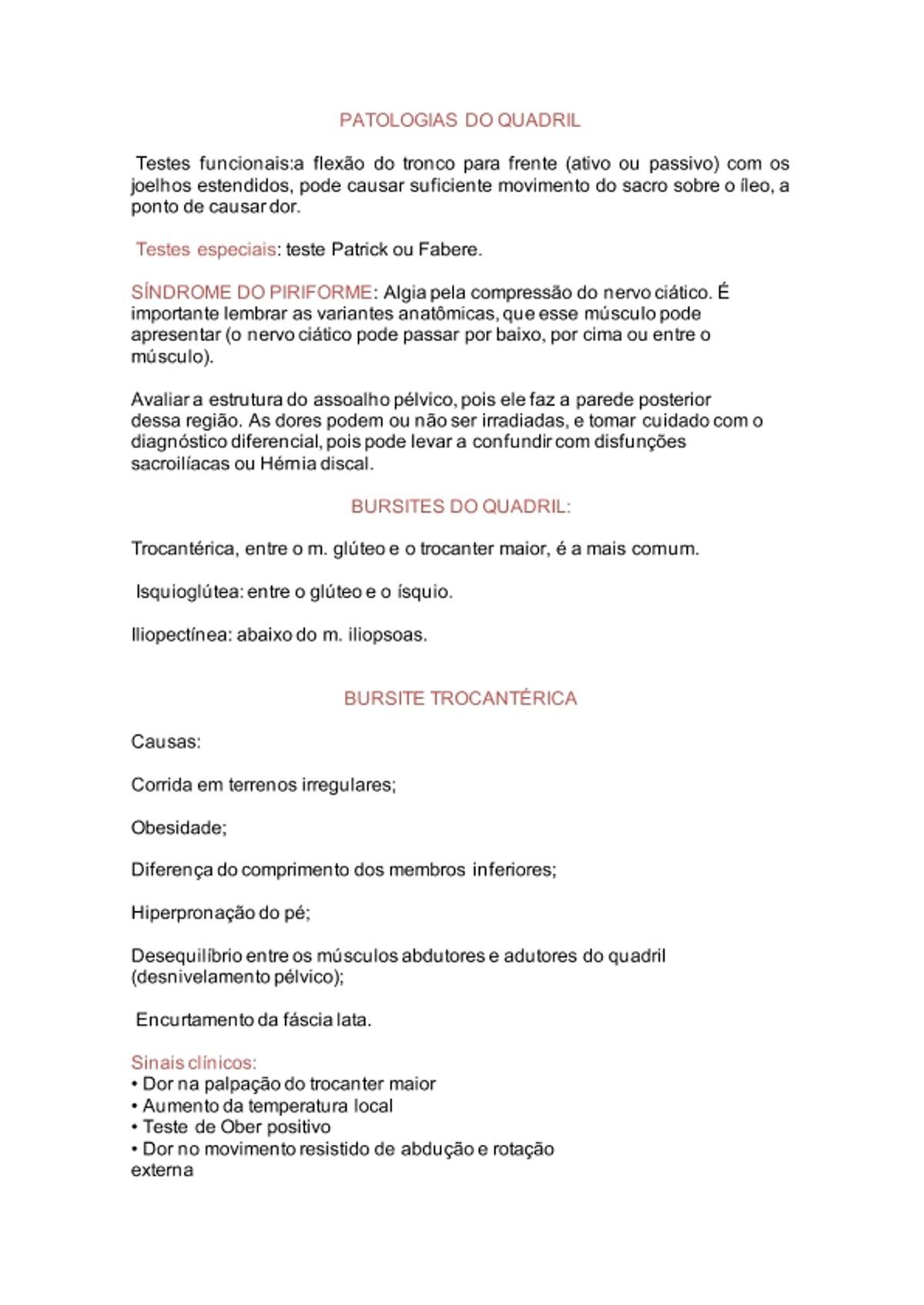 Pre-visualização do material PATOLOGIAS DO QUADRIL - página 1