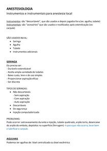 ANESTESIOLOGIA - instrumentos e instrumentais