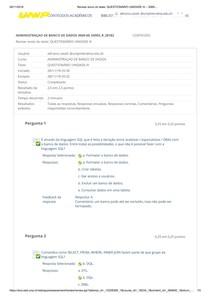 Adminstração de Banco de Dados  QUESTIONÁRIO UNIDADE III