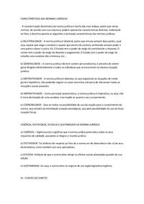 CARACTERÍSTICAS DAS NORMAS JURÍDICAS