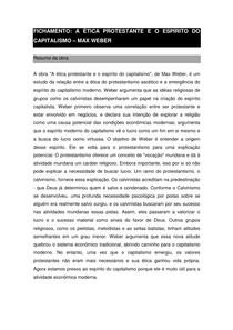 FICHAMENTO A ética protestante e o espírito do capitalismo - Max Weber
