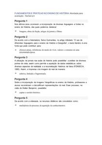 FUNDAMENTOS E PRÁTICAS NO ENSINO DE HISTÓRIA Atividade para avaliação Semana 4