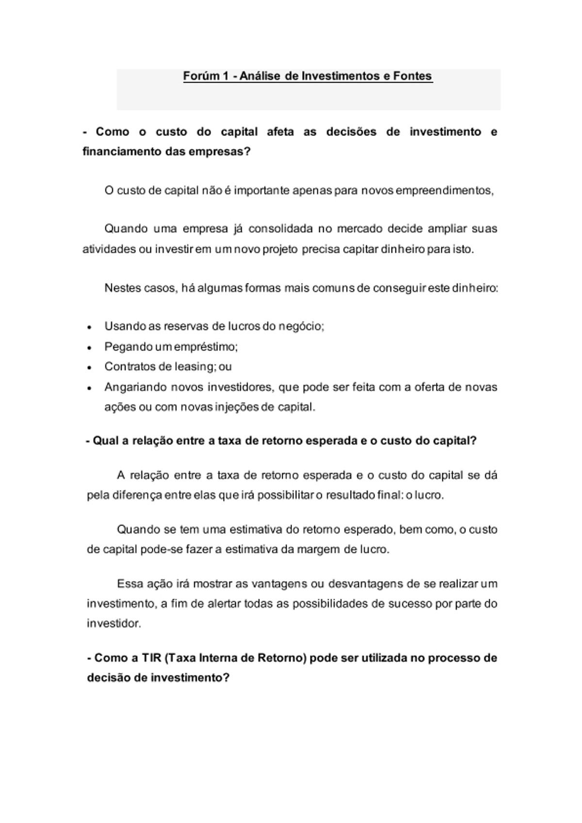 Pre-visualização do material Forúm 1 Analise de Investimentos e Fontes - página 1
