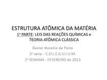 Estrutura Atômica Da Matéria Introdução Slide Aula Quími
