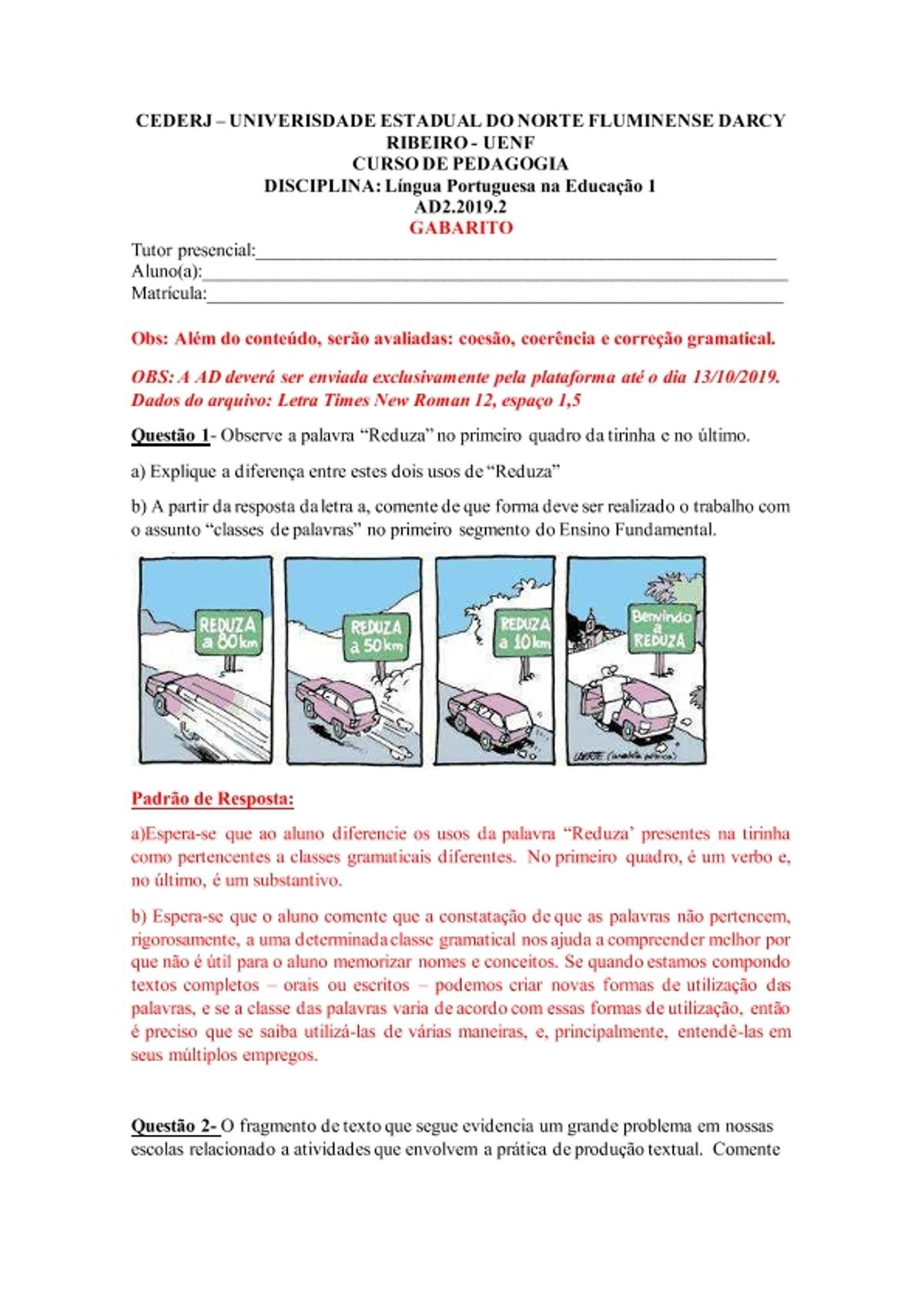 Pre-visualização do material AD2 LÍNGUA PORTUGUESA NA EDUCAÇÃO 1 2019.2 Gabarito - página 1