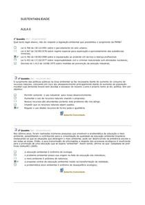 SUSTENTABILIDADE EXERCÍCIOS AV2
