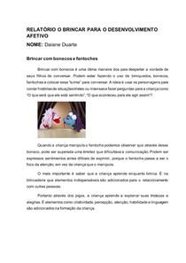 RELATÓRIO O BRINCAR PARA O DESENVOLVIMENTO AFETIVO