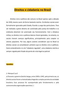 Direito e cidadania no Brasil- Resumo e questões