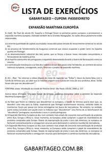 EXERCÍCIOS RESOLVIDOS EXPANSÃO MARITÍMA EUROPÉIA