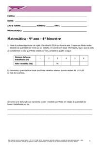 Matemática 9º ano 4º Bim
