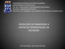 Produção de Farneseno a partir da Fermentação da Sacarose