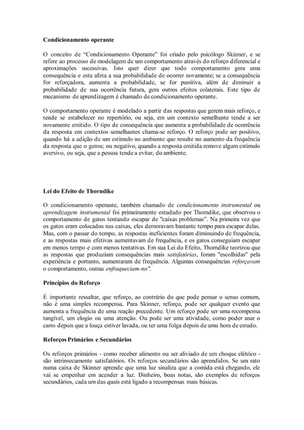 Pre-visualização do material Condicionamento operante - página 1