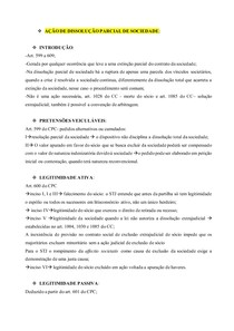 AÇÕES ESPECIAIS - AÇÃO DE DISSOLUÇÃO PARCIAL DE SOCIEDADE