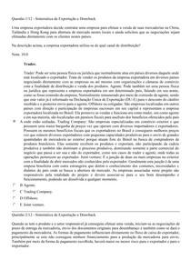 PROVA OBJETIVA - SISTEMÁTICA DE EXPORTAÇÃO E DRAWBACK - COMÉRCIO EXTERIOR - UNINTER