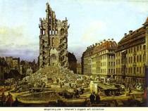 Bernardo Bellotto -  As Ruínas do Kreuzkirche velho em Dresden