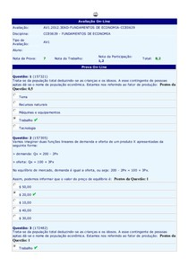 Fundamentos de Economia - (26) - AV1 - 2012.3
