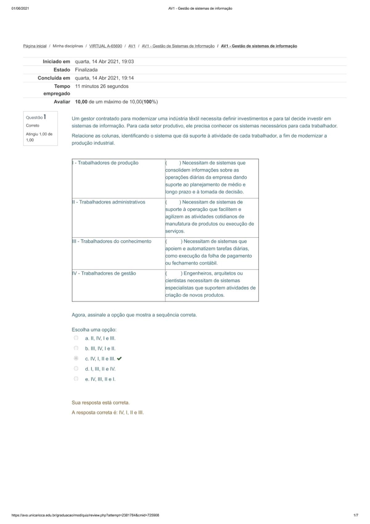 Pre-visualização do material AV1 - Gestão de sistemas de informação - página 1