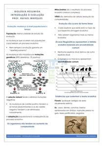 Evolução 1 - Introdução e evidencias evolutivas - resumo