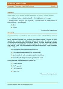 Educaçao Inclusiva - Questões de Concursos Publicos - Modulo 2