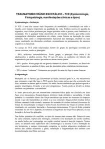 TRAUMATISMO CRÂNIO ENCEFÁLICO (epidemiologia, fisiopatologia e manifesações clínicas)