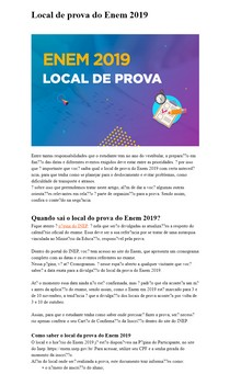 Local de prova do Enem 2019