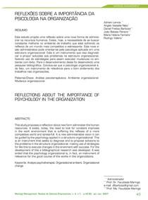 REFLEXÕES SOBRE A IMPORTÂNCIA DA PSICOLOGIA NA ORGANIZAÇÃO