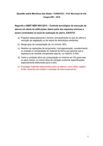 Questão sobre Mecânica dos Solos - FUNDATEC Pref Municipal de Vila Lângaro-RS 2019