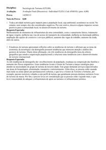 SOCIOLOGIA DO TURISMO - Avaliação Final (Discursiva) - Individual FLEX ( Cod 456810)
