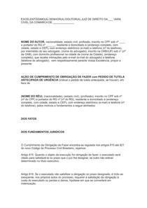 AÇÃO DE CUMPRIMENTO DE OBRIGAÇÃO DE FAZER COM PEDIDO DE TUTELA ANTECIPADA DE URGÊNCIA