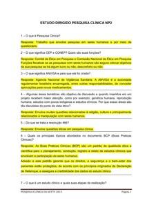 ESTUDO DIRIGIDO PESQUISA CLÍNICA NP2