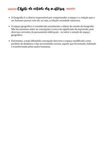 Objeto de estudo da matéria (Geografia) - 1º ano