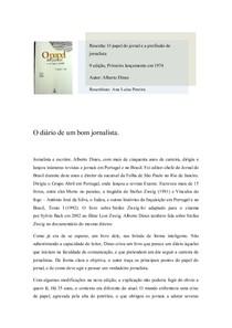 res. ' O PAPEL DO JORNAL E A PROFISSAO DE JORNALISTA '