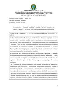 Resumo do livro Economia Brasileira Antônio Corrêa de Lacerda et al. Parte 3 Capítulo 5 A Crise de 1930 e o avanço da industrialização brasileira