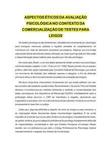 Ética na avaliação psicológica no contexto comercialização de testes