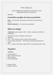 Pré Clínica I - Características normais e patológicas do periodonto