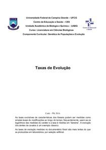 Taxas Evolutivas