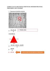 Como calcular o espaçamento da microestrutura primário e secundário