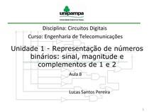Aula 8 - Sinal e Magnitude e Complementos de 1 e 2
