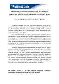 Logística - Resumo