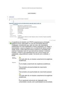 PROJETOS E PRÁTICAS DE AÇÃO PEDAGÓGICA Supervisão Escolar e Orientação Escolar Quest I, II e III