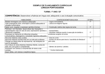 Exemplo de Planejamento Curricular - Língua Portuguesa - 1º ano EF