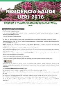 prova objetiva 2018 RESIDENCIA EM CIRURGIA BUCOMAXILOFACIAL UERJ