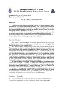 Relatório de Prática de Regulação Osmótica