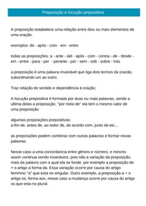 Português - preposição e locução prepositiva! (resumo)
