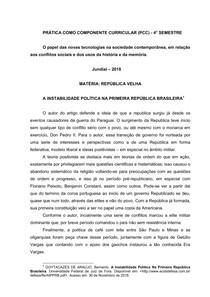 A INSTABILIDADE POLÍTICA NA PRIMEIRA REPÚBLICA BRASILEIRA