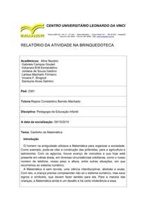 RELATÓRIO DA BRINQUEDOTECA CANTINHO DA MATEMÁTICA