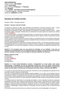 PROVA   EDUCAÇÃO AMBIENTAL 2018.1