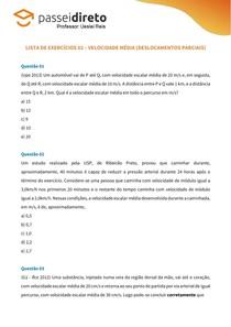Lista de Exercício 02 - Velocidade Média (deslocamentos parciais)